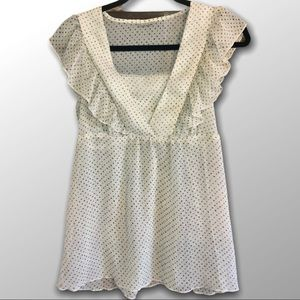 DAYTRIP   Cream Top with Gold Polkadots